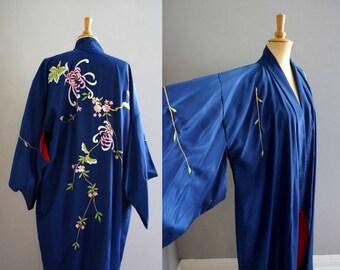 Royal Blue Embroidered Floral Kimono / Vintage Kimono