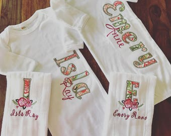 Personalized Baby Gown and Burp Cloth
