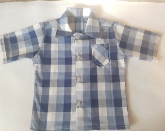 Blue Plaid Short sleeves dress shirt Sizes 3M - 3T