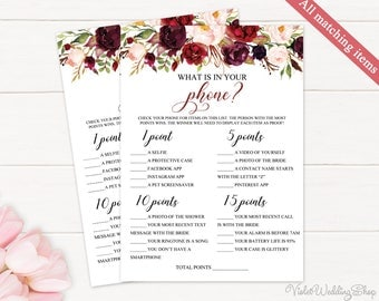 What's in Your Phone Game. Printable Bridal Shower Game. Marsala Bridal Shower Game. Burgundy Blush Bordo Red Pink Floral Flower Download