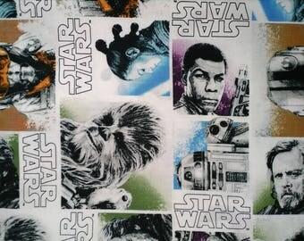 1/4 yard of Star Wars 100% Cotton Luke Skywalker Anakin Yoda Leia Obi-Wan Kenobi Han Solo R2-D2