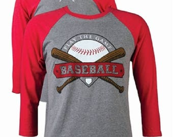 LightHeart Play the Game Baseball Tee Front Print Heather Vintage Red