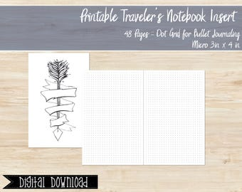 Printable Micro Size Travelers Notebook Dot Grid Insert, Nano Tn