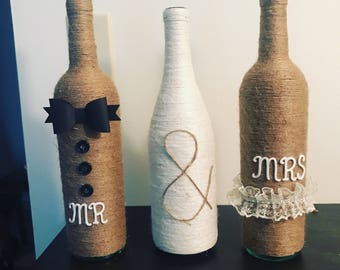 Twine Wrapped Mr and Mrs Wine Bottle Decor