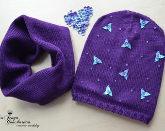 Child Hat and Snud/Knitted Beanie with Beads and Paillettes/Handmade Knitted Child Purple Hat and Scarf/Autumn-Spring Knit Set of Acrylic