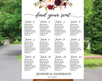 PRINTABLE Wedding Seating Chart Template, Boho Wedding Table seating assignment, Decor, Editable Text, Instant Download. Edit PDF - ASC002