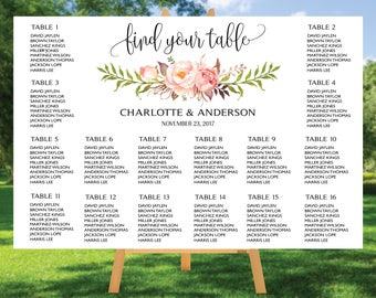 PRINTABLE Wedding Seating Chart Template, Boho Wedding Table seating assignment, Decor, Editable Text, Instant Download Edit PDF #017