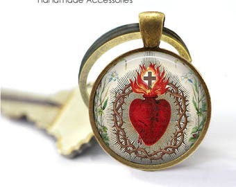 SACRED HEART Key Ring • Heart of Jesus • Sacre Coeur • Christian Heart • Catholic Heart • Gift Under 20 • Made in Australia (K451)