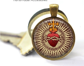 Christian Heart Key Ring • Heart of Jesus • Sacre Coeur • Religious Heart • Catholic Heart • Gift Under 20 • Made in Australia (K562)