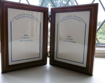 Traditional Wooden Teak Double Hinged Picture Photo Frame 7 x 5""