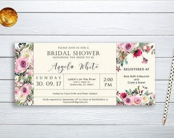 Bridal Shower Invitation Printable Floral Digital Wedding Blush Pink Watercolor Peonies Boho Invitation Bohemian Bridal Shower Invite WS-026