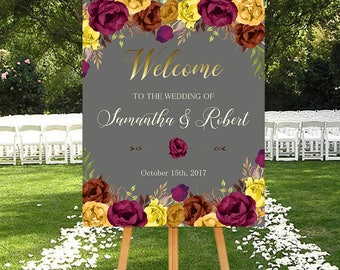 Wedding Welcome Sign Fall Marsala Burgundy Floral Fall Boho Digital Wedding Reception Sign Fall Bridal Wedding Welcome Poster WS-027