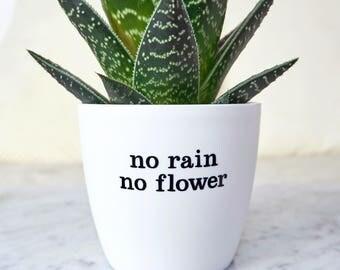 "Flower Pot ""No rain, no flower"" - cheer up gift"
