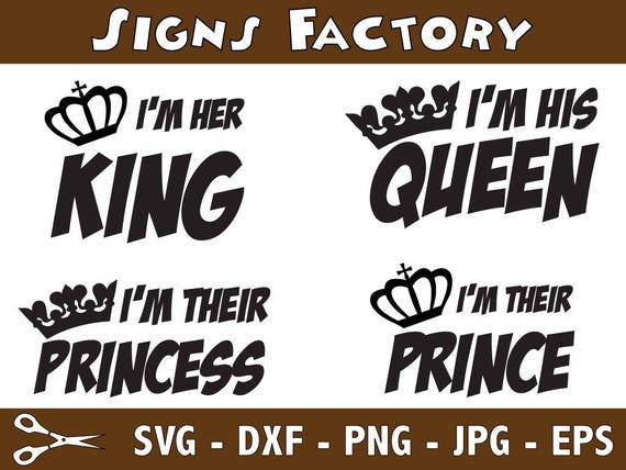 Her King Svg His Queen Svg King And Queen Svg Svg Design: Queen King Princess Prince SVG Files, Svg File For Cutting