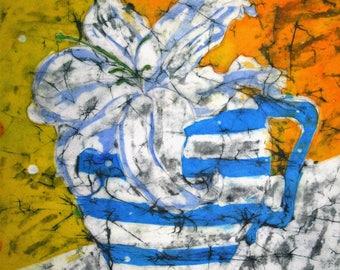 Flower jug -  Signed print from an original batik, 40 cm x 20 cm