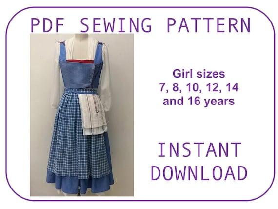 Belle Blue Village Dress PDF sewing pattern. 2017 movie Emma Watson