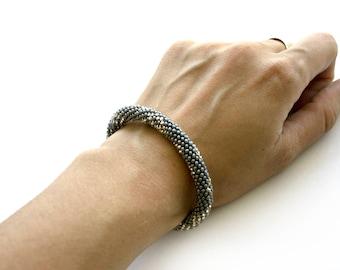 Bead Crochet Bracelet, Seed Bead Bracelet, Beadwork Jewelry, for Women, Elegant Bracelet , Grey, Silver, Handmade Bracelet, crochet bracelet