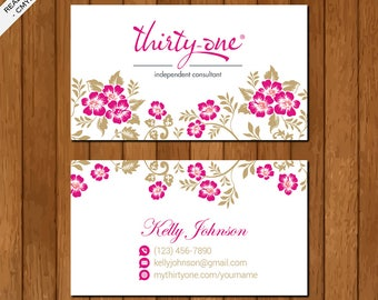 Thirty One Business Card, Printable Files, Elegant Business Card, Pink Flowers, TO01