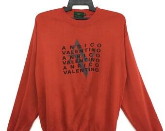 Sale!! ANRICO VALENTINO Sweatshirt Jumper Medium Size Orange Color