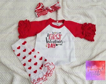 Valentine's Day/' My First Valentine's Day' with Arrows/Hearts/Baby or Toddler Ruffled Raglan Shirt/Outfit/ First Valentine's Day Photos