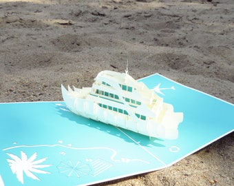 Cruise Ship 3D Pop Up Card, Vacation card, vacation pop up card, cruise invitation card, vacation invitation card, retirement card