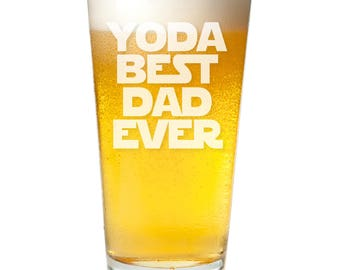 Yoda Best Dad Ever Engraved Pint Glass - Father's Day Gift -PNTG3960-A1280D- Birthday Gift