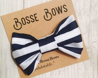 Navy Blue Bow tie, Striped Bow tie, Baby Navy Bow tie, Nautical Bow tie, Nautical Stripe Bow tie, Solid Navy Bow tie, Baby boy Bow tie, bow