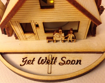 S 1 - Americas Cabin Greetings with a LED LIGHT: Get Well Soon
