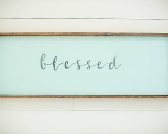 BLESSED canvas and wood lath sign - THANKSGIVING