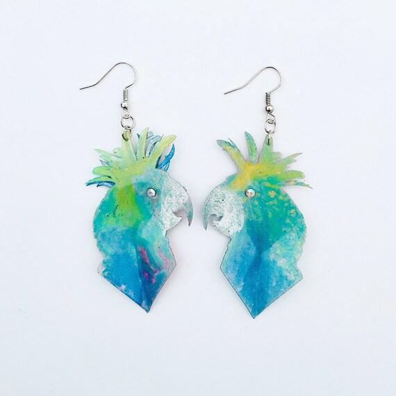 Palm Cockatoo earrings - Feather airy earrings - Feather drops earrings - Trending jewelry - Parrot jewelry - Rockabilly Jewelry - Birds