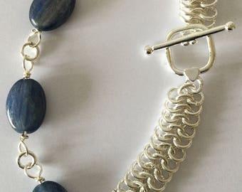 Kyanite, Chain Maille Bracelet