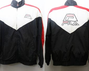 "Rare 90's Vintage ""FILA"" Colorblocked Windbreaker Jacket Sz: SMALL (Men's Exclusive)"