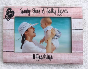 Beach frame, personalized beach decor, personalized frame, beach baby, #beachlife, sandy toes salty kisses