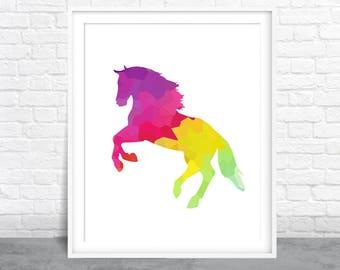 Horse Art, Wild Animal Art, Farm Design, Colorful Cow