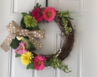 Daisy Wreath, Gerber Daisy Wreath,Front Door Wreath, Summer Wreath, Grapevine Wreath, Everyday Wreath, Year Round Wreath, Burlap Bow Wreath,