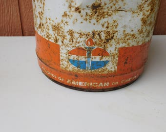 Vintage 5 Gallon Product of  American Oil Company Gas Oil Can
