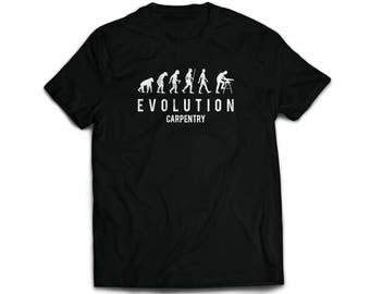 Handmade screen printed evolution of a carpenter funny joke humour meme trade work job black and white  t'shirt