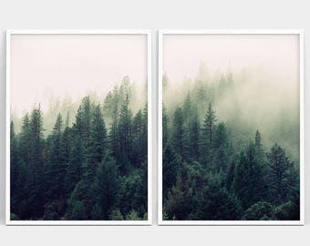 Forest Print, Forest Photography, Nature Prints, Forest Wall Art, Nature Art, Set of 2 Woodland Print, 2 Piece Forest Print, Minimalist Art