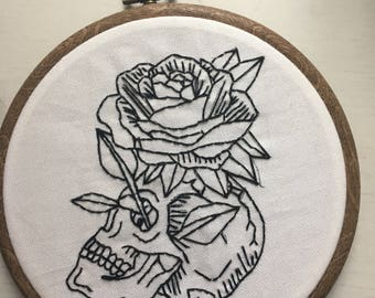 Skull and rose hand embroidery