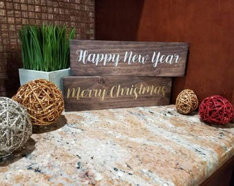 Merry Christmas & Happy New Year Sign | Christmas Sign | New Years Eve Sign | Holiday Gift | Wooden Christmas Decor | Rustic Decor