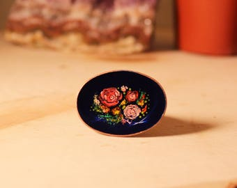 The Kaama Ring - adjustable brass, painted florals & resin