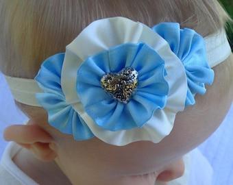 blue and white headband, blue satin headband, blue and white baby headband