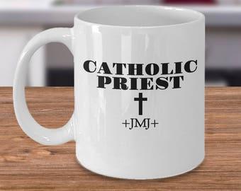 "Gift for Priest! Coffee Mug or Tea Cup- ""CATHOLIC PRIEST † +JMJ+"" - 11&15 oz"