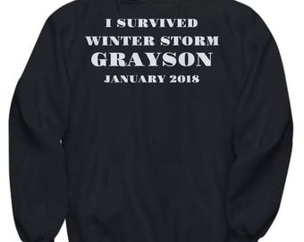 "Winter Storm Grayson Adult Hoodie -""I Survived Winter Storm Grayson January 2018"" - 5 COLORS!"