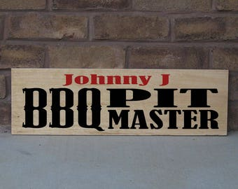 Custom BBQ Pit Master stained and Handpainted Wood Sign 24 x 7.25