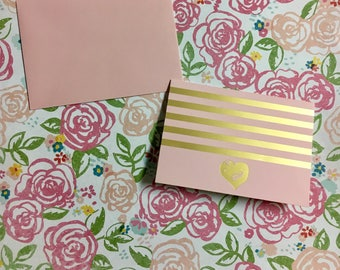 Cute Pink and Gold Vintage 6 Note Card Set
