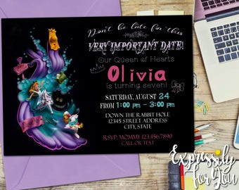 Alice in Wonderland Invitation / Alice in Wonderland Birthday / Birthday Party Invite / Tea Party Invitation
