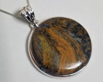 925 Sterling Silver Round Pietersite Pendant
