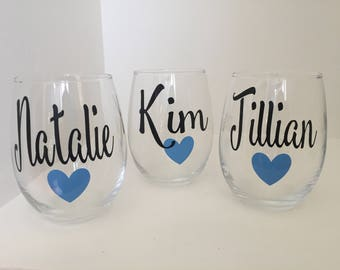 Set of 5 or 6 Personalized Bridesmaid Wine Glass | Bridal Party Wine Glass| Bridesmaid Gift | Personalized Name Wine Glass | Bridal Party Gi