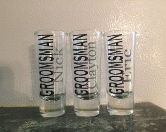Set of 5, 6, 7 or 8 Custom Shot Glasses | Groomsmen Shot Glasses